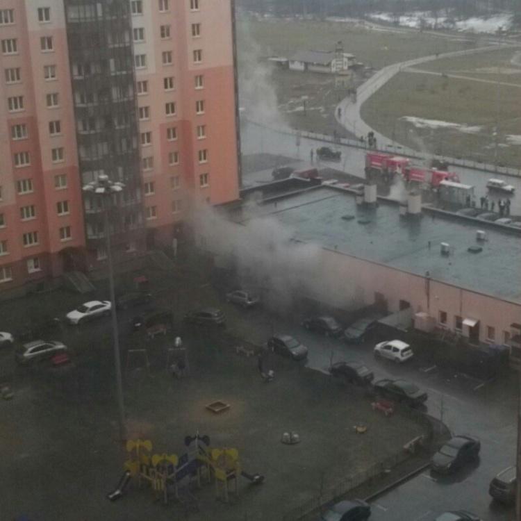 В Кудрово тушили пожар в магазине стройтоваров