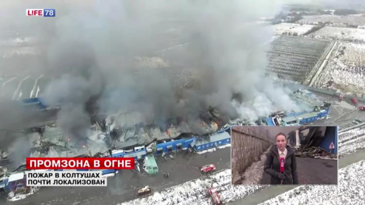 На пожаре в Колтушах ликвидировано открытое горение (видео)
