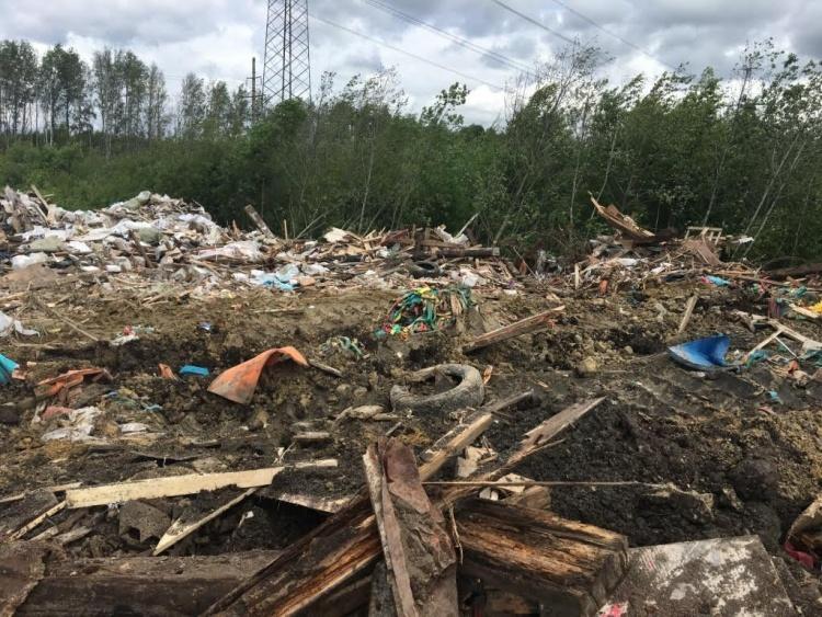 У КАД во Всеволожском районе растет мусорная гора
