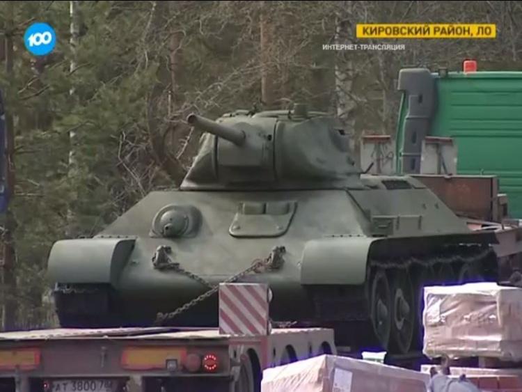На Невский пятачок привезли первые танки Т-34 времени ВОВ (видео)