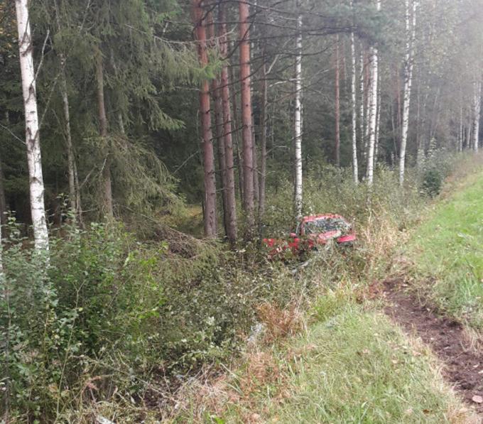 На Дороге жизни Volkswagen улетел в кусты